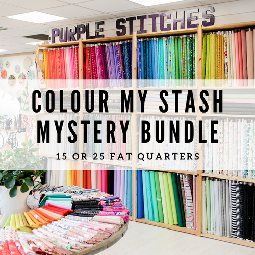 mystery stash bundle, bargain bundle, choose the number of fat quarter and we'll build you a rainbow. Purple Stitches Hampshire UK