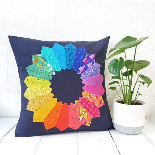 Dresden Star Cushion Rainbow Option Kit, available from purple Stitches, Hampshire UK