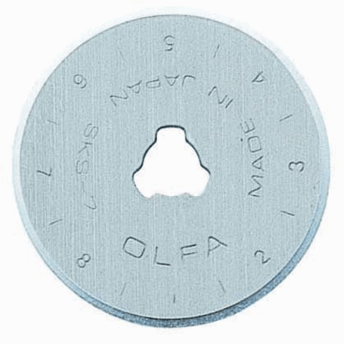 Olfa 28mm blade - Rotary Cutter Replacement Blade, available from Purple Stitches, Hampshire UK