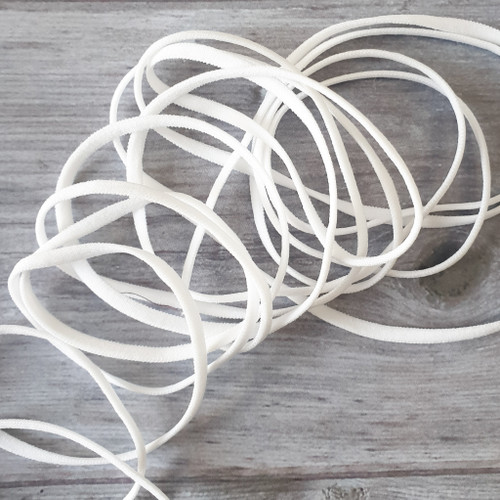 "4mm / 1/8"" WHITE flat soft tubular elastic cord / ear loop elastic band for face mask"