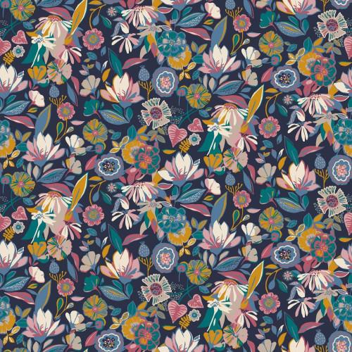 Floral In Navy - Tencel Modal Jersey
