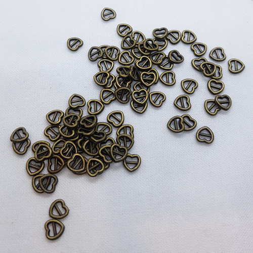 BRONZE colour - 5mm Heart Mini Buckles slider