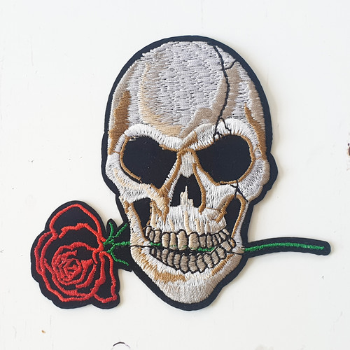Skull and Rose - Iron On / Sew on Patches