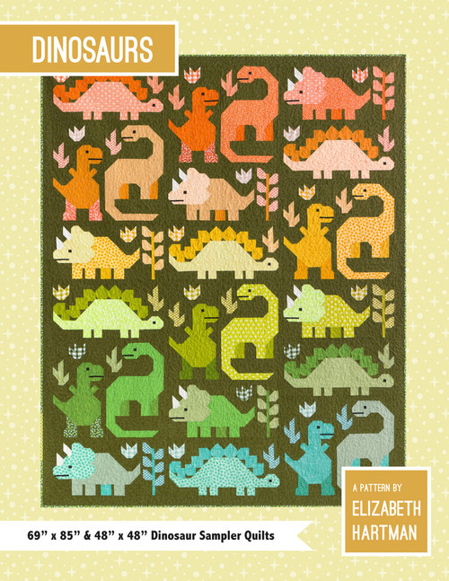 Dinosaurs Pattern,  Elizabeth Hartman, Available from Purple Stitches UK