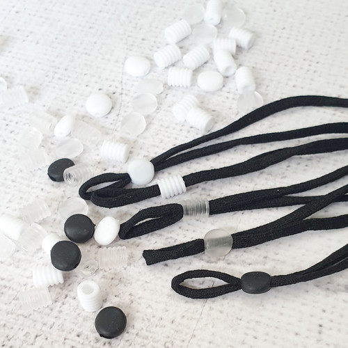 facemask adjuster beads to imrove fit, available from Purple Stitches, Hampshire UK.