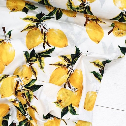 Lemon printed fabric.  Cotton Poplin.  100% cotton, available from Purple Stitches, Hamsphire, UK