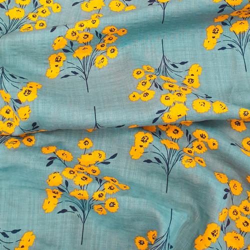 colour bubble fabric.  Cotton viscose mix.  70% cotton, 30% linen, available from Purple Stitches, Hamsphire, UK