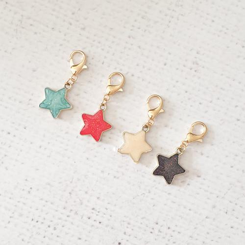 Star Zipper Charm, Glitter Star Charm, Star Clip, Stitch Marker, Notebook Charm, Diary Charm, Purse Accessories, Purse Charm, Purple Stitches, UK, Hampshire