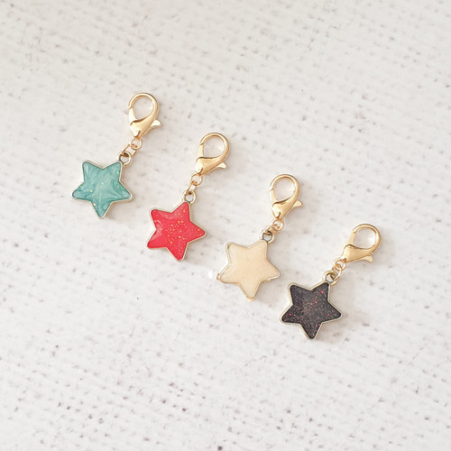 Star Zipper Charm, Glitter Star Charm, Star Clip, Stitch Marker, Notebook Charm, Diary Charm, Purse Accessories, Purse Charm, Purple Stitches, UK, Hampshire
