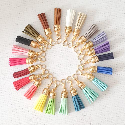 Tassels Zipper Charm, Faux Suede Tassel Charm, Tassel Clip, Stitch Marker, Diary Charm, Purse Accessories, Purse Charm, Purple Stitches, UK, Hampshire