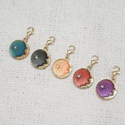 Stars and Moon Zipper Charm, Star Charm, New Moon Clip, Stitch Marker, Notebook Charm, Diary Charm, Purse Accessories, Purse Charm, Purple Stitches, UK, Hampshire