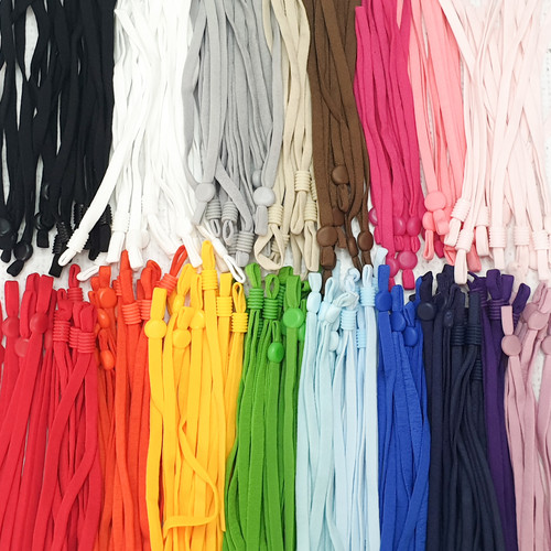 "5mm / 1/8"" flat soft tubular elastic cord / ear loop elastic band with adjuster beads for face mask"