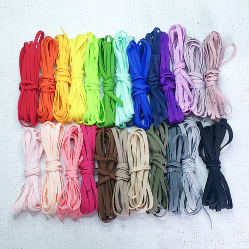 "5mm / 1/8"" WHITE flat soft tubular elastic cord / ear loop elastic band for face mask"