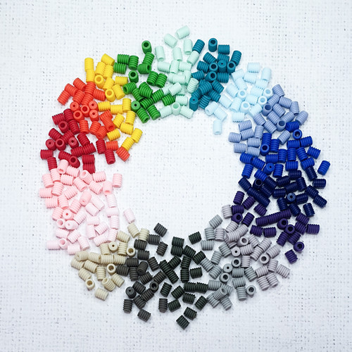 Barrel Shape Colour Silicone Adjuster Beads for facemask Elastics - pack of 10
