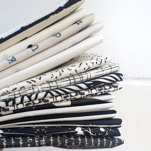 Black Friday Special Black and White Bundle 15 Fat Quarters, available from Purple Stitches, Hampshire UK
