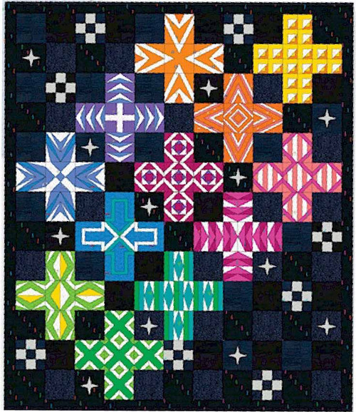 Graphic Jam Quilt (DARK background) - Block of the Month - 12 month programme - Registration Fee