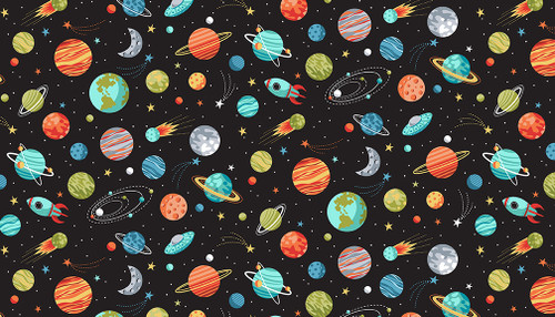Outer Space Fabric by Makower, Available from Purple Stitches, Hampshire UK.