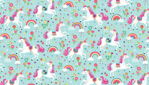 Unicorn fabric, makower, available from Purple Stitches, Hampshire UK