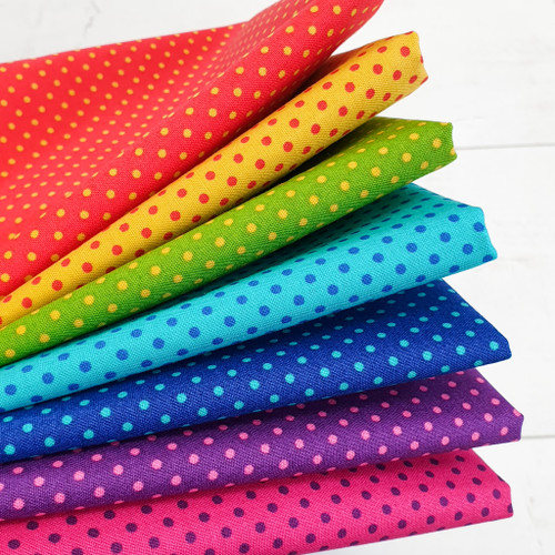 Spotty Rainbow Bundle, 7 fat quarters, available from Purple Stitches, Hampshire UK