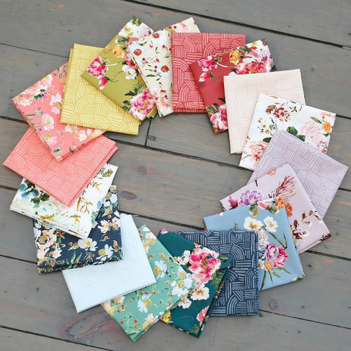 Wildflower full fat quarter Bundle, 18 fat quarters, available from Purple Stitches, Hampshire UK