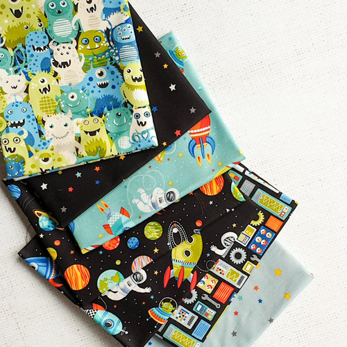 Outer Space Bundle, 7 fat quarters, available from Purple Stitches, Hampshire UK