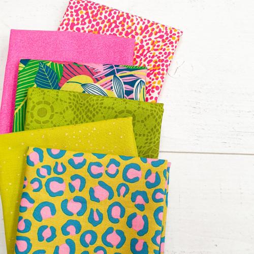Acid Jungle bundle, 6 fat quarters of tropical jungle theme fabric , available from Purple Stitches, Hampshire UK