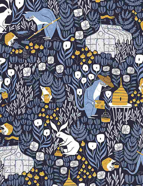 Bee Keeper, Rae Richie, Cat Fabric, Dear Stella Fabric, available from Purple Stitches, Hampshire, UK