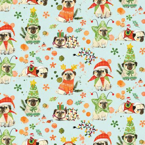 Bah Hum-Pug Christmas, Christmas Dog,  Dear Stella Fabric, available from Purple Stitches, Hampshire, UK