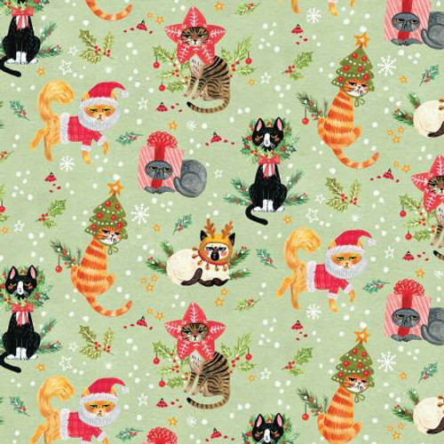 Cat Christmas, Christmas cat,  Dear Stella Fabric, available from Purple Stitches, Hampshire, UK