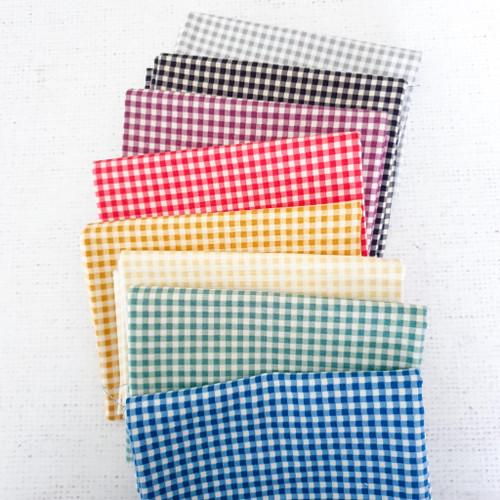 Gingham Bundle, 7 fat quarters, available from Purple Stitches, Hampshire UK