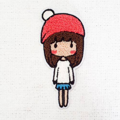 Girl with White Dress (S) - Thick Towelling Patch - Sew on Patches