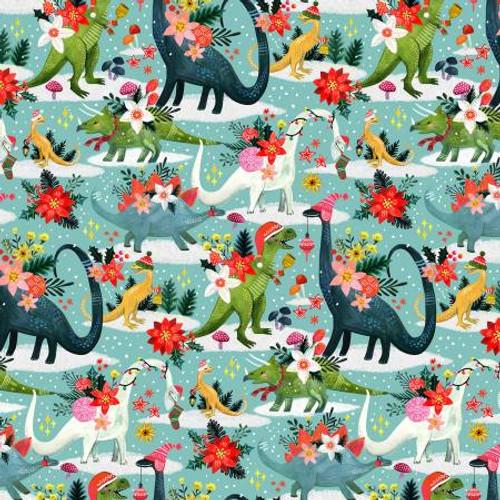 Dinosaur, christmas dinosaur,  Dear Stella Fabric, available from Purple Stitches, Hampshire, UK