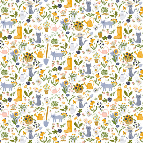 White gardening cat, meant to bee,  Dear Stella Fabric, available from Purple Stitches, Hampshire, UK