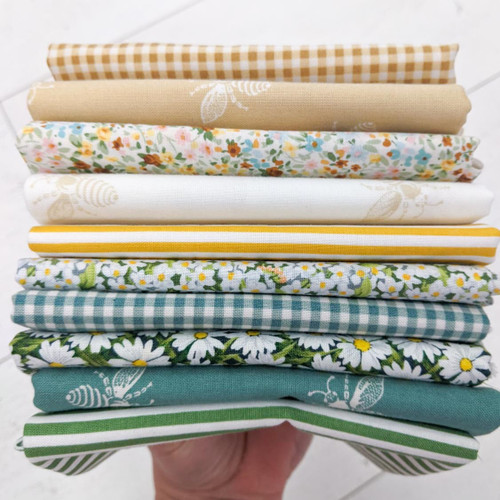 Honey Bee Bundle, 10 fat quarters, available from Purple Stitches, Hampshire UK