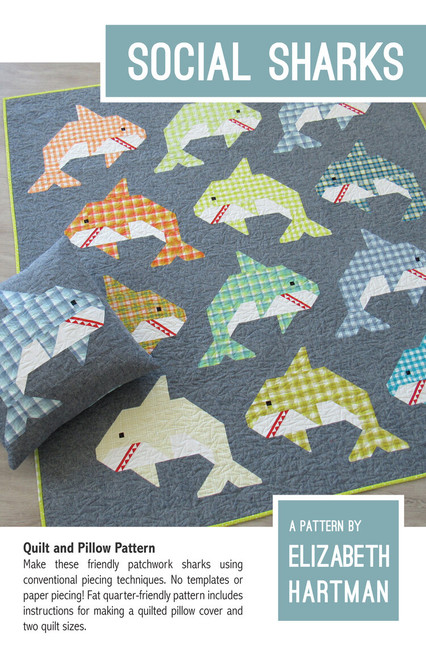 Social Shark quilt pattern, Elizabeth Hartman, Paper Copy, available from Purple Stitches, Hampshire, UK