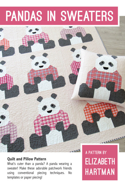 Panda in Sweaters quilt pattern, Elizabeth Hartman, Paper Copy, available from Purple Stitches, Hampshire, UK