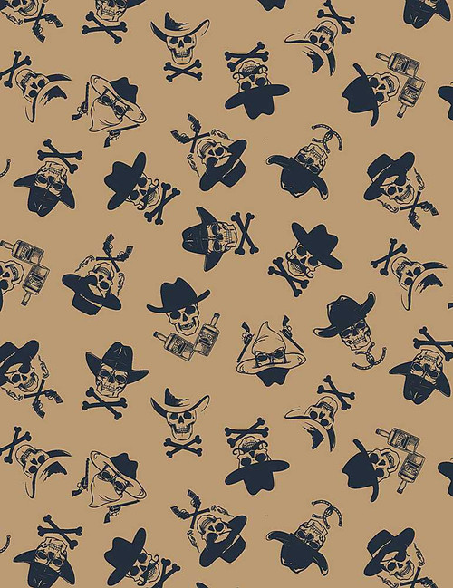 Wanted, Western and skeleton collection, Dear Stella Fabric, available from Purple Stitches, Hampshire, UK