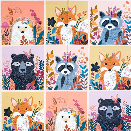 Wild by Bethan Janine with woodland animals, bird, feathers and flowers available from Purple Stitches, Hampshire, UK