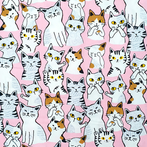 Novelty Cat print from Sevenberry, Japanese Fabric, 100% cotton, available from Purple Stitches, Hampshire, uk