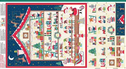 Metallic Advent Calender Panel by Makower Fabrics, Available from Purple Stitches, Hampshire UK.