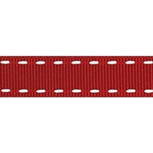 Red & White Stitched Grosgrain Ribbon