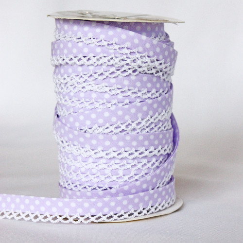 Lilac Lace Edge Bias Binding 12mm