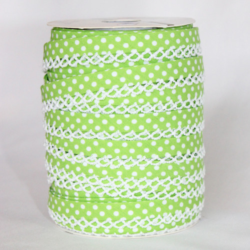 Lime Lace Edge Bias Binding 12mm