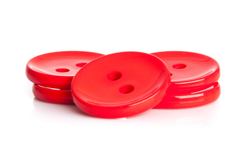 Red Shiny 2 Hole Button - 34mm
