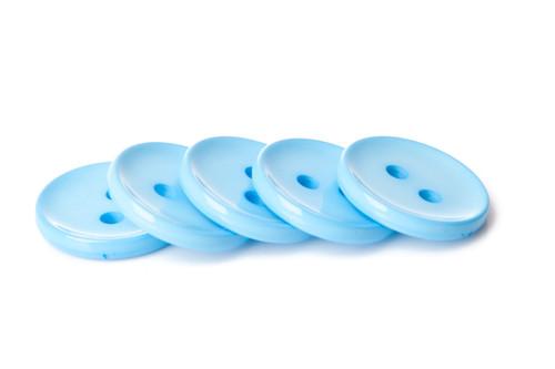 Light Blue Shiny 2 Hole Button - 34mm