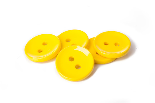 Yellow Shiny 2 Hole Button - 34mm