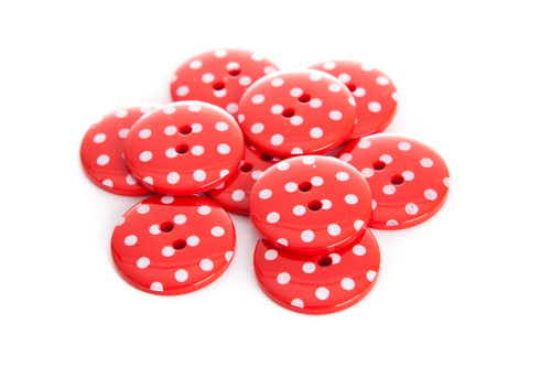 Red Polka Dot 2 Hole Button - 22mm