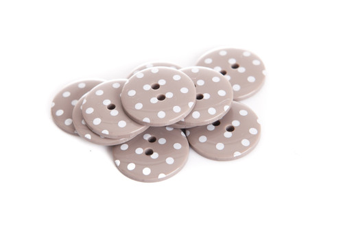 Taupe Polka Dot 2 Hole Button - 22mm