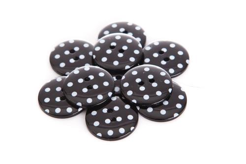 Black Polka Dot 2 Hole Button - 22mm