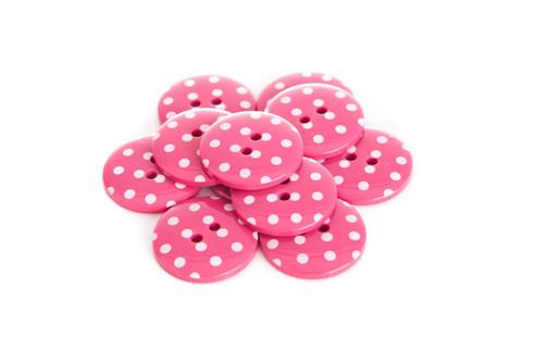 Fuchsia Polka Dot 2 Hole Button - 22mm